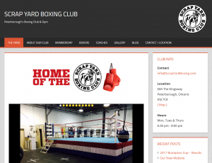 Web Design for Scrap Yard Boxing Club in Peterborough