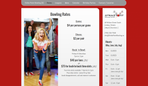 strikepoing bowling lindsay web design