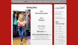 strikepoing bowling lindsay web design
